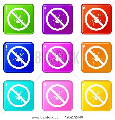 No spider sign icons of 9 color set isolated vector illustration