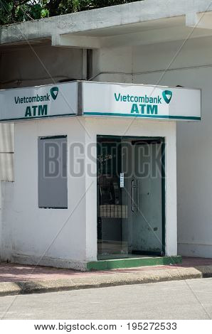 Hanoi, Vietnam - August 16, 2015: automatic teller machine of the Vietcombank in central Hanoi.