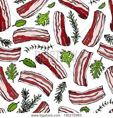 Pork Bacon and Herbs Seamless. Isolated On a White Background. Food Pattern. Realistic Doodle Cartoon Style Hand Drawn Sketch Vector Illustration.