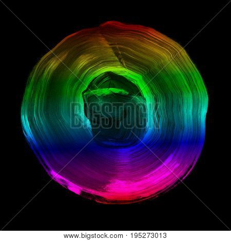 Rainbow Textured Acrylic Circle. Watercolour Stain On Black Background.