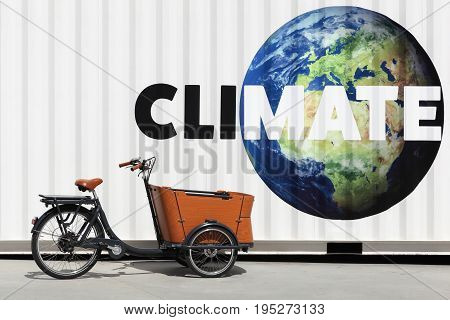 Climate and environment concept on a wall