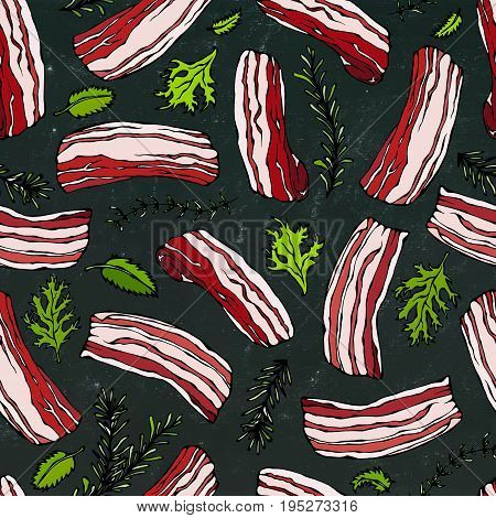 Pork Bacon and Herbs Seamless. IIsolated on a Black Chalkboard Background. Food Pattern. Realistic Doodle Cartoon Style Hand Drawn Sketch Vector Illustration.