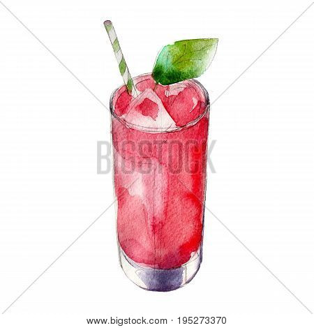 Strawberry juice in glass with mint leaf watercolor illustration isolated on white background.