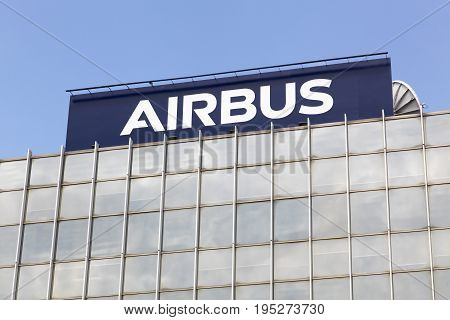 Toulouse,  France - June 2, 2017: Airbus is a division of the multinational Airbus SE that manufactures civil aircraft. It is based in Blagnac, France, a suburb of Toulouse, France