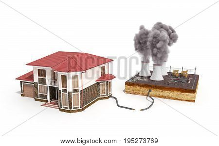 The Concept Of Ecologically Clean Energy The House Is Weather Vanes Instead Of Thermal Power Station