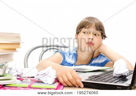 teenager with book on a white background the choice between the computer and the book