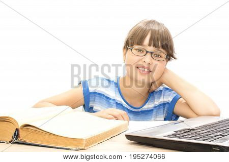 Cute teenager with book on white background joy success