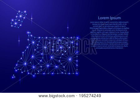 Equatorial Guinea map of polygonal mosaic lines network rays and space stars of vector illustration.