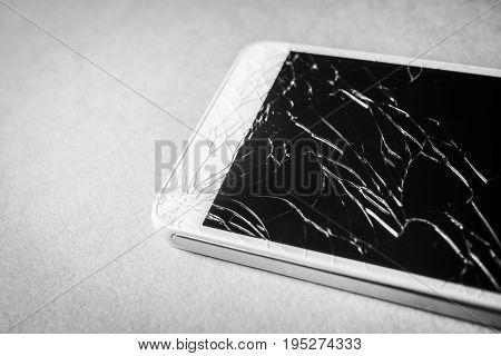 Broken mobile phone black and white frame