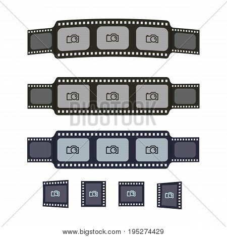 Video tape frames templates for yor photo design. Flat film and photo tapes collection for design banners text. Cinematography strip vector elements