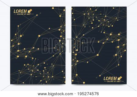 Modern vector template for brochure Leaflet flyer advert cover catalog, magazine or annual report. A4 size. Business, science, medical design. Golden cybernetic dots. Lines plexus. Card surface