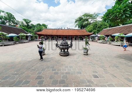 Hanoi, Vietnam - August 16, 2015: the Temple of Literature is a historic Temple of Confucius and site of the National Academy university.