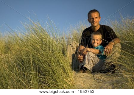 Father And Son Looking Away