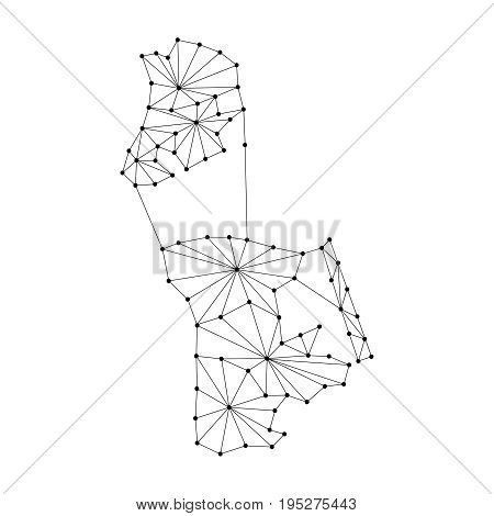 Macau map of polygonal mosaic lines network rays and dots vector illustration.