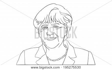 Editorial line vector portrait of Angela Merkel, Chancellor of Germany.