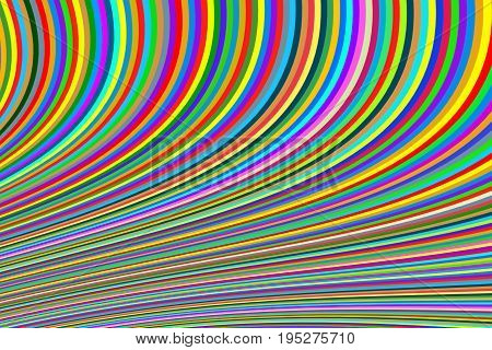 Abstract background of bright narrow lines in a bend multi-colored green green red yellow stripes