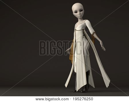 3d rendering of a cute grey alien female