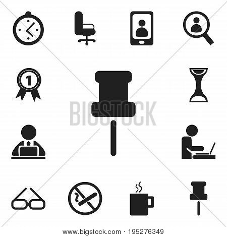 Set Of 12 Editable Bureau Icons. Includes Symbols Such As Work Seat, Telephone, Pushpin And More. Can Be Used For Web, Mobile, UI And Infographic Design.