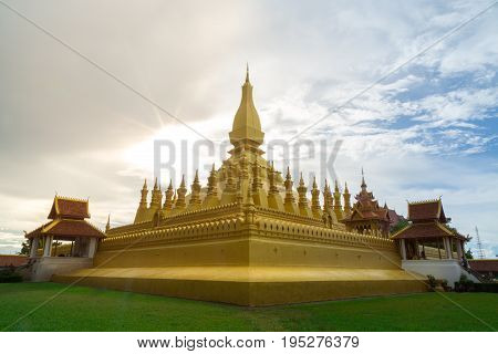 Beautiful Architecture at Pha That LuangVientiane Laos. Pha That Luang is a gold-covered large Buddhist stupa and be the most important national monument in Laos.