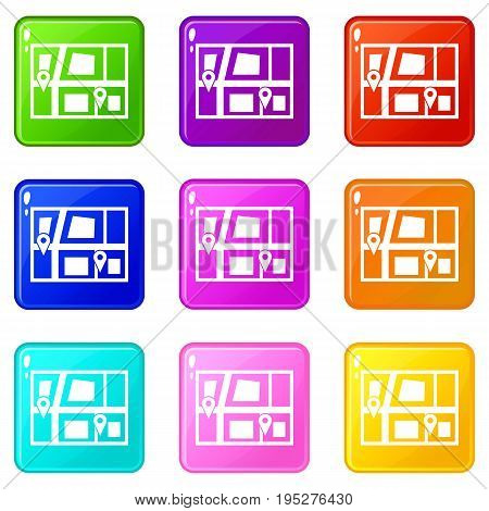 Geo location of taxi icons of 9 color set isolated vector illustration