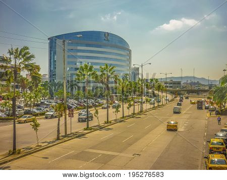 GUAYAQUIL, ECUADOR, OCTOBER - 2016 - Urban day scene of main avenue and modern buildings in Guayaquil city Ecuador