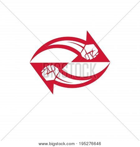 Muscular clenched fist vector emblem created in shape of arrow. Social revolution concept.
