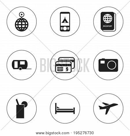 Set Of 9 Editable Journey Icons. Includes Symbols Such As Telephone, Caravan, Camera And More. Can Be Used For Web, Mobile, UI And Infographic Design.