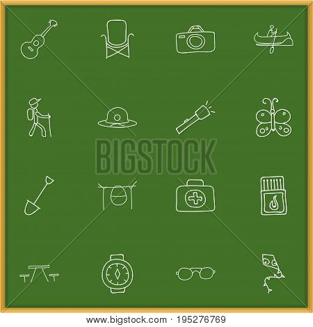 Set Of 16 Editable Camping Icons. Includes Symbols Such As Wrist Clock, Picnic, Campfire Cooking And More. Can Be Used For Web, Mobile, UI And Infographic Design.