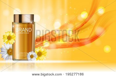 Design Cosmetics Product Bottle with Flowers Chamomile Template for Ads, Announcement Sale, Promotion New Product or Magazine Background. 3D Realistic Vector Iillustration. EPS10