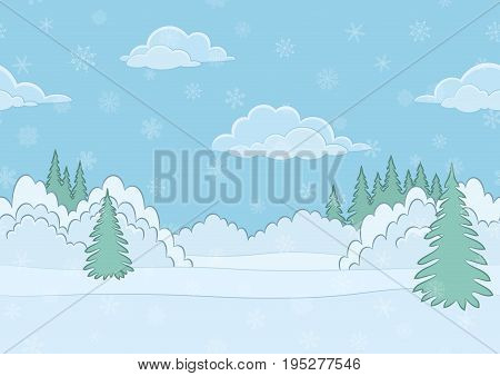 Christmas Horizontal Seamless Background Landscape, Winter White Forest with Snow and Blue Sky with Clouds. Eps10, Contains Transparencies. Vector