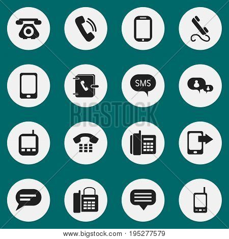 Set Of 16 Editable Phone Icons. Includes Symbols Such As Share Display, Smartphone, Home Cellphone And More. Can Be Used For Web, Mobile, UI And Infographic Design.