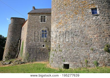 ST MESMIN, FRANCE - JULY 9, 2017: External view of St Mesmin Castle in Saint Andre sur Sevres, Deux Sevres