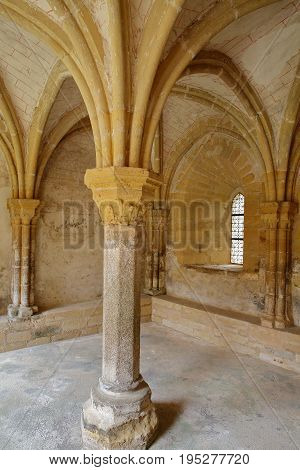 SAINT PROUANT, FRANCE - JULY 10, 2017: The Chapter House in The priory of Grammont