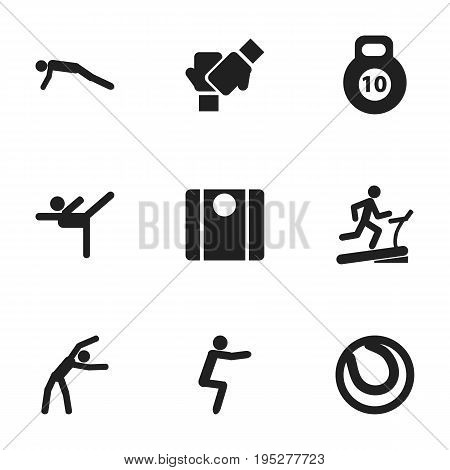 Set Of 9 Editable Fitness Icons. Includes Symbols Such As Racetrack Training, Gauntlet, Exercise And More. Can Be Used For Web, Mobile, UI And Infographic Design.