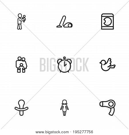 Set Of 9 Editable Kin Icons. Includes Symbols Such As Sweeper, Mom, People And More. Can Be Used For Web, Mobile, UI And Infographic Design.
