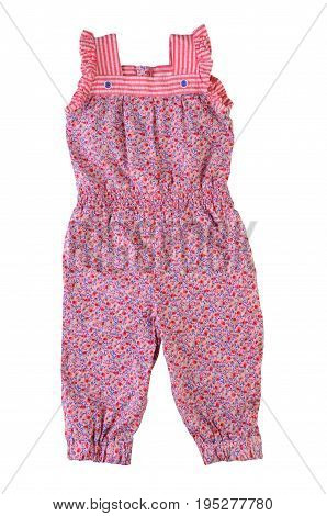 Fashionable Overalls for a baby girl with floral pattern. Jumpsuit for girl isolated on white background. Coverall in floral print. Summer children's clothes