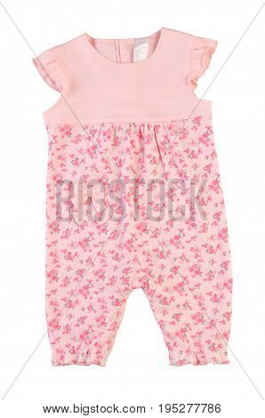 Jumpsuit for girl isolated on white background. Coverall in floral print. Overalls in flower. Romper