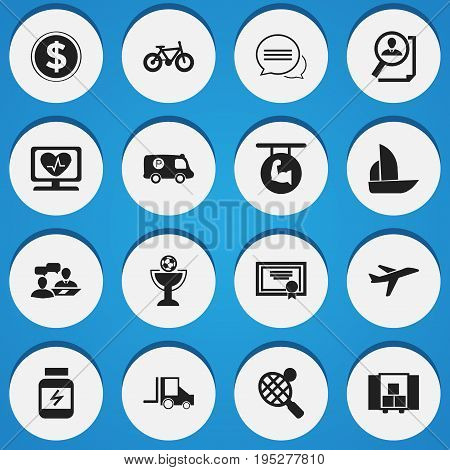 Set Of 16 Editable Mixed Icons. Includes Symbols Such As Police Vehicle, Bicycle, Search And More. Can Be Used For Web, Mobile, UI And Infographic Design.