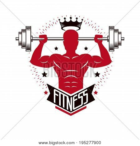 Bodybuilding weightlifting gym logotype sport template vintage style vector emblem. With bodybuilder silhouette.