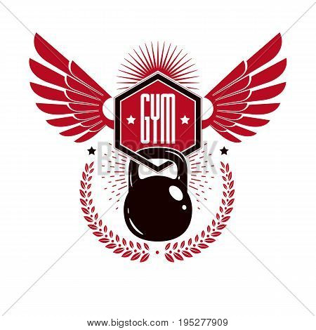Bodybuilding weightlifting gym logotype sport template vintage style vector emblem with wings. With kettlebell.