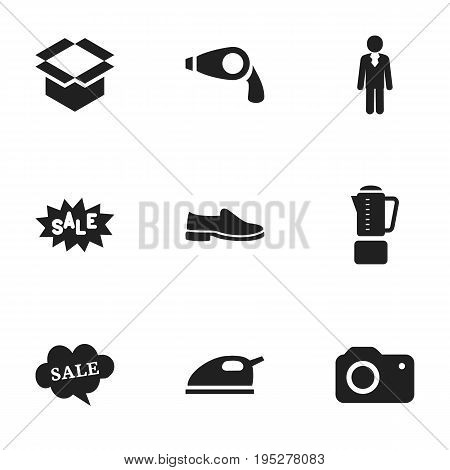Set Of 9 Editable Business Icons. Includes Symbols Such As Package, Discount Tag, Blend And More. Can Be Used For Web, Mobile, UI And Infographic Design.