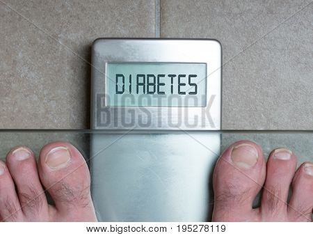 Man's Feet On Weight Scale - Diabetes