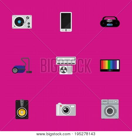 Set Of 9 Editable Technology Icons. Includes Symbols Such As Cellphone, Turntable, Sweeper And More. Can Be Used For Web, Mobile, UI And Infographic Design.