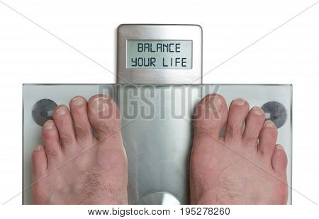 Man's Feet On Weight Scale - Balance Your Life