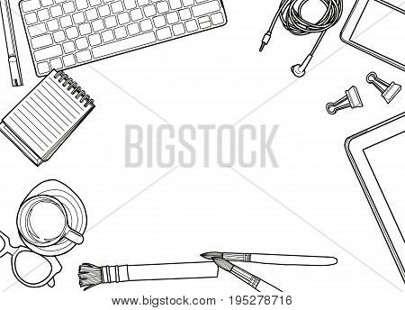 Hand Drawn Vector Illustration Top view of office supplies and gadgets on a table background. View from above. with space for text