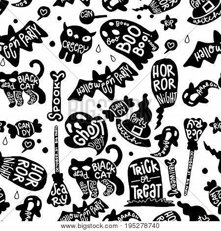 Halloween vector background with copyspaceseamless background doodle vector.