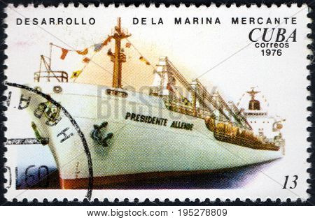 UKRAINE - CIRCA 2017: A postage stamp printed in Cuba shows Development of the merchant marine from the eries Cuban Shipping circa 1976