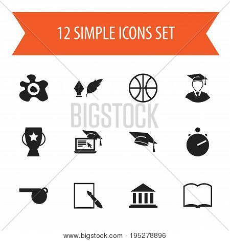 Set Of 12 Editable Education Icons. Includes Symbols Such As Goblet, Chronometer, Blower And More. Can Be Used For Web, Mobile, UI And Infographic Design.