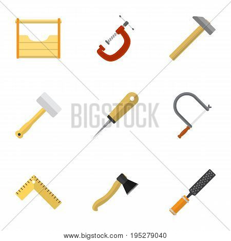 Set Of 9 Editable Tools Icons. Includes Symbols Such As Hammer, Axe, Meter And More. Can Be Used For Web, Mobile, UI And Infographic Design.