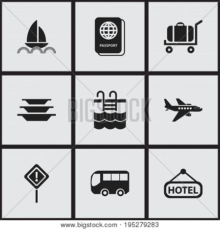 Set Of 9 Editable Travel Icons. Includes Symbols Such As Signboard, Motorbus, Basin And More. Can Be Used For Web, Mobile, UI And Infographic Design.